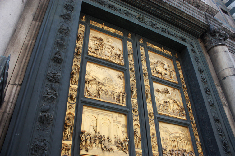 Doors to the Baptistry- Reproductions of the originals, but so it goes in Florence.